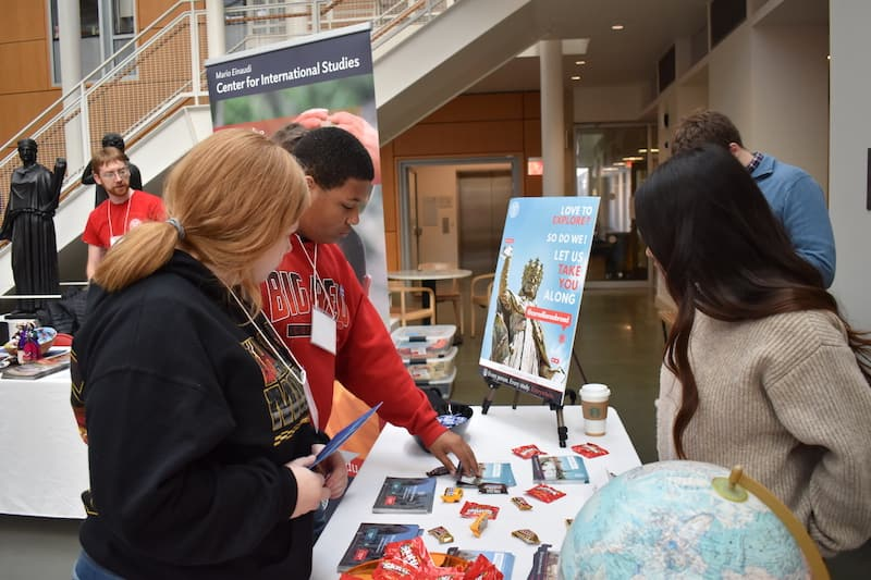 Student participants learning about global resources during the WLD info fair